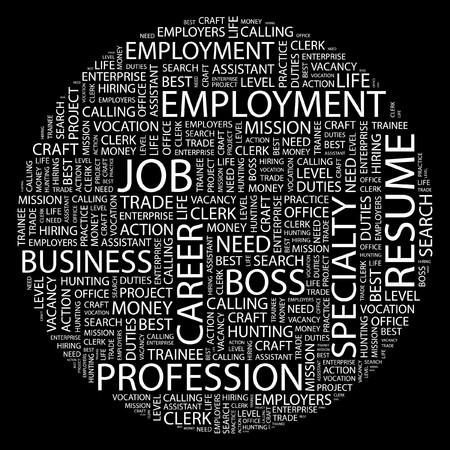 lifework: JOB. Word collage on black background.