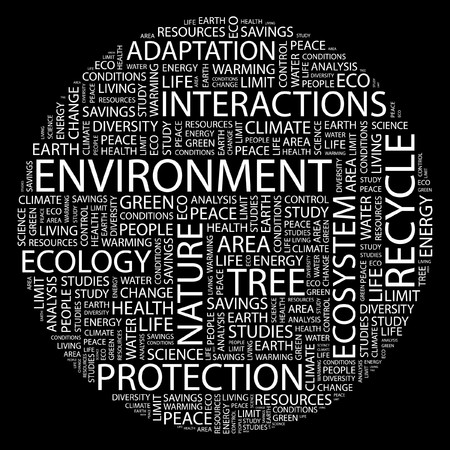 ENVIRONMENT. Word collage on black background. Stock Vector - 7031344