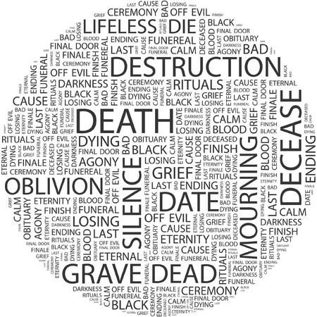 decease: DEATH. Word collage on white background.