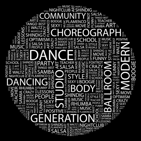 DANCE. Word collage on black background. Stock Vector - 7031787