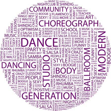DANCE. Word collage on white background.  Vector