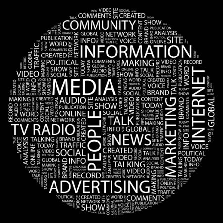 MEDIA. Word collage on black background.  Vector