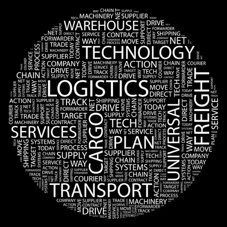 keywords link: LOGISTICS. Word collage on black background.