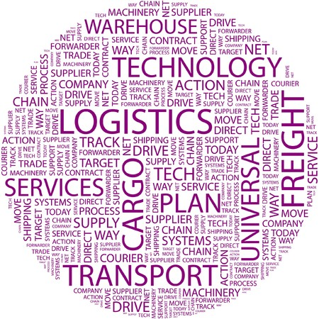 warehousing: LOGISTICS. Word collage on white background.