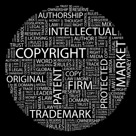 COPYRIGHT. Word collage on black background.  Vector