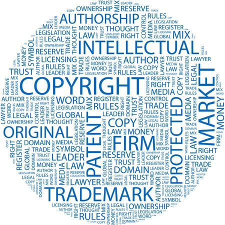 licensing: COPYRIGHT. Word collage on white background.