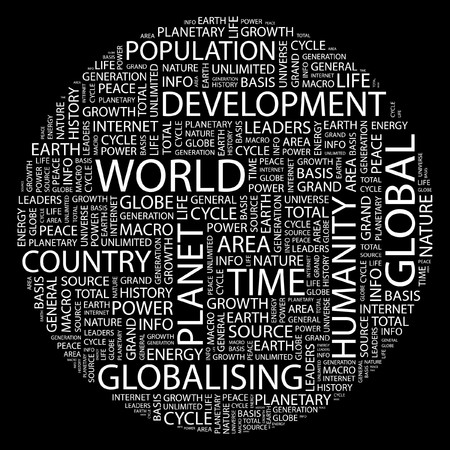 WORLD. Word collage on black background.  Vector
