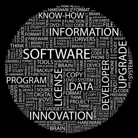 SOFTWARE. Word collage on black background. Vector