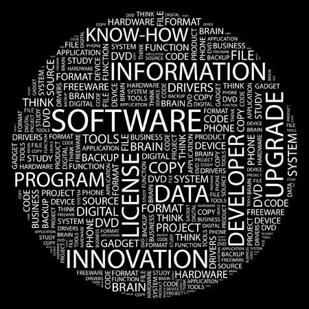 freeware: SOFTWARE. Word collage on black background. Illustration