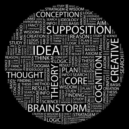 theorem: IDEA. Palabra collage sobre fondo negro.  Vectores