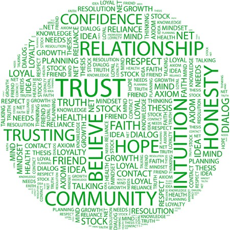 axiom: TRUST. Word collage on white background.