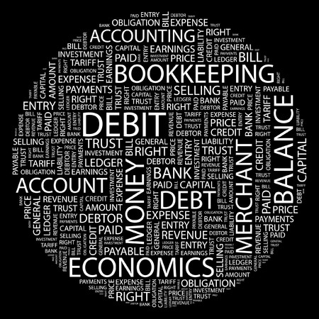 accounts payable: DEBIT. Word collage on black background.