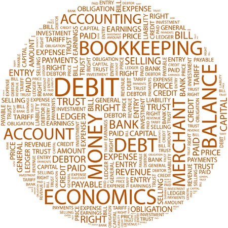 DEBIT. Word collage on white background.