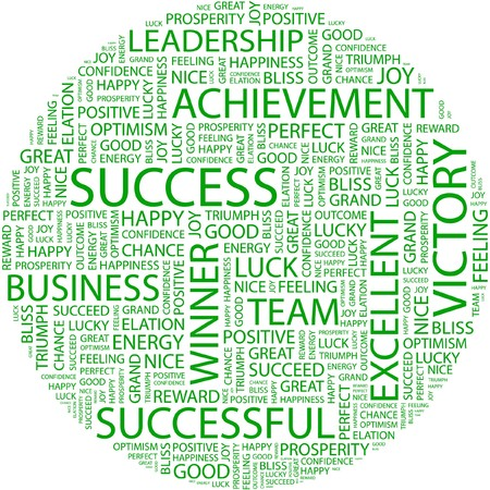 attainment: SUCCESS. Word collage on white background.  Illustration