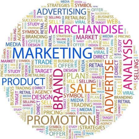 retail chain: DI MARKETING. Parola di collage su sfondo bianco.  Vettoriali