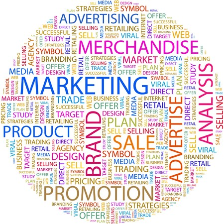 contents: MARKETING. Word collage on white background.  Illustration