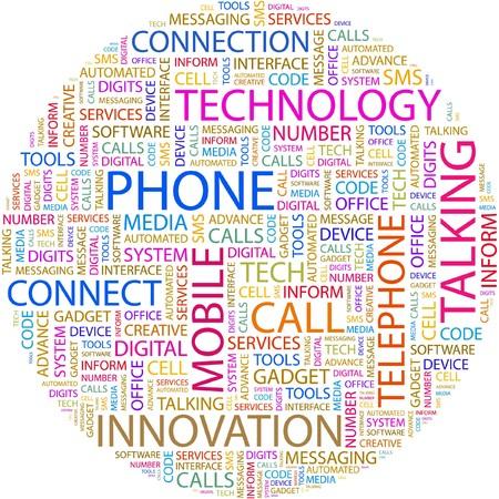 beep: PHONE. Word collage on white background.  Illustration