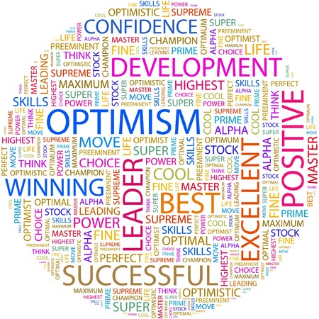 optimal: OPTIMISM. Word collage on white background.