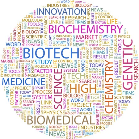 biomedical: BIOTECH. Word collage on white background.