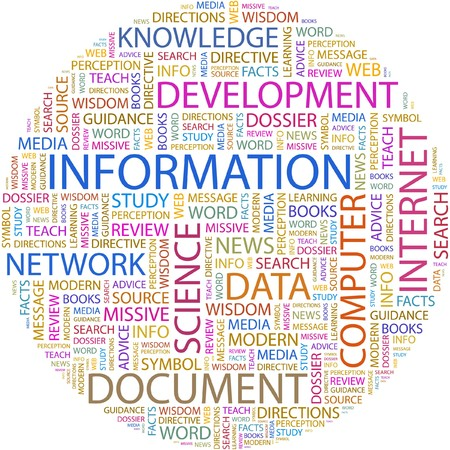 INFORMATION. Word collage on white background.  Vector