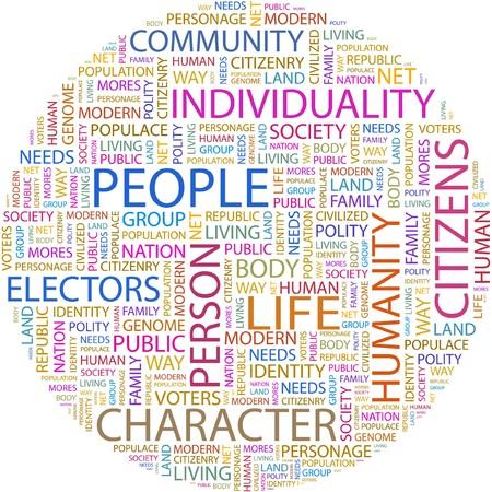 citizenry: PERSONAS. Palabra collage sobre fondo blanco.  Vectores