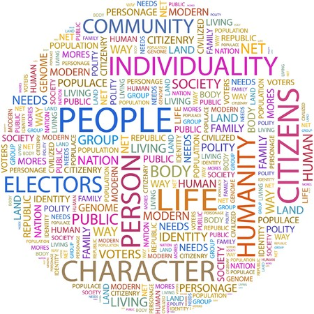 inhabitants: PERSONE. Parola di collage su sfondo bianco.  Vettoriali