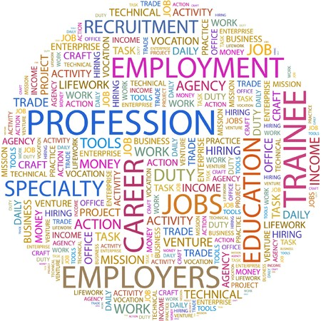 lifework: PROFESSION. Word collage on white background.