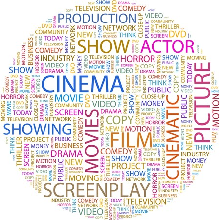 cinematograph: CINE. Palabra collage sobre fondo blanco.  Vectores