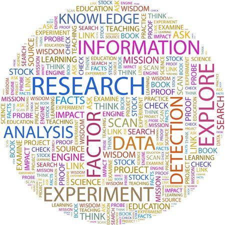 onderzoek: ONDERZOEK. Woord collage op witte achtergrond.