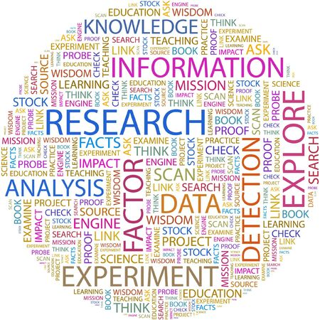 marketing research: RESEARCH. Word collage on white background.