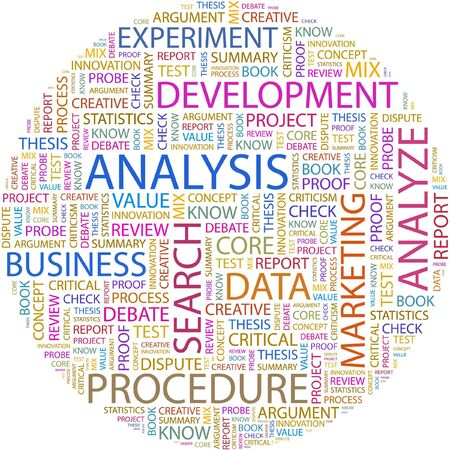 article marketing: ANALYSIS. Word collage on white background.