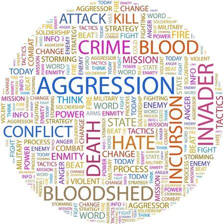 incursion: AGRESSION. Collage de mot sur fond blanc. Illustration