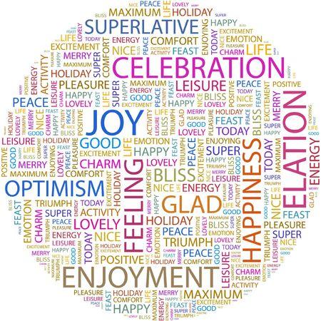 elation: JOY. Word collage on white background.
