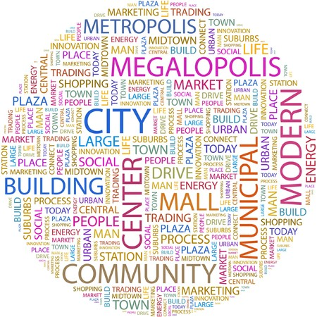 building a social network: CITY. Word collage on white background.