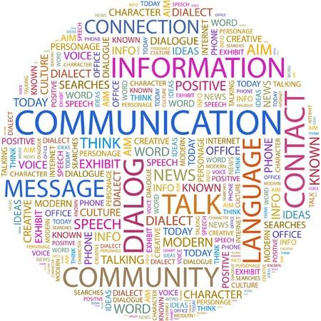 visualize: COMUNICAZIONE. Collage di Word su sfondo bianco  Vettoriali