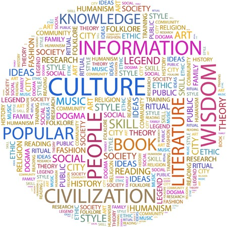 CULTURE. Word collage on white background. Vector