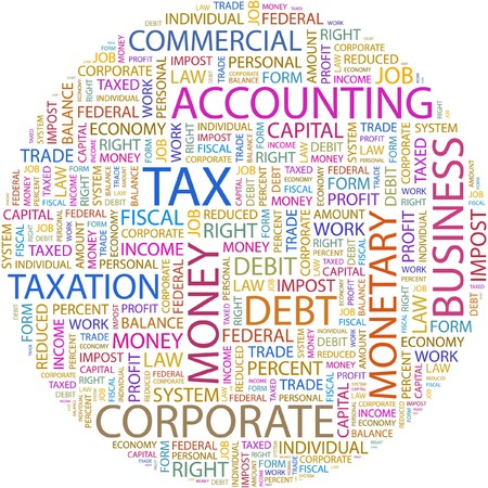 tax form: TAX. Word collage on white background.