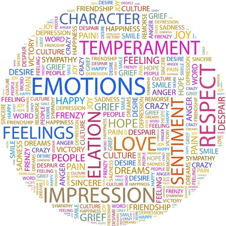 chain reaction: EMOTIONS. Word collage on white background.
