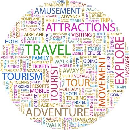 tour guide: GASTOS DE VIAJE. Palabra collage sobre fondo blanco.
