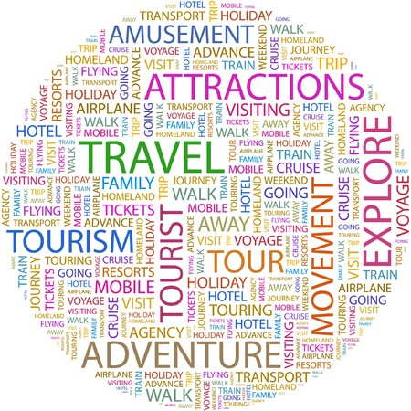 attractions: TRAVEL. Word collage on white background. Illustration