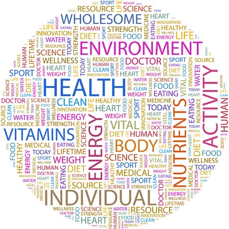 creative strength: HEALTH. Word collage on white background.