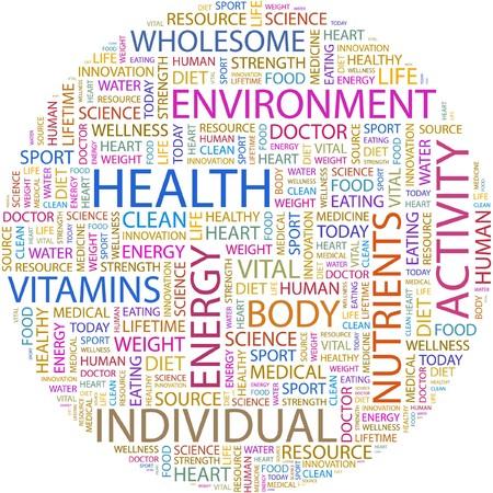 buena salud: SALUD. Palabra collage sobre fondo blanco. Vectores