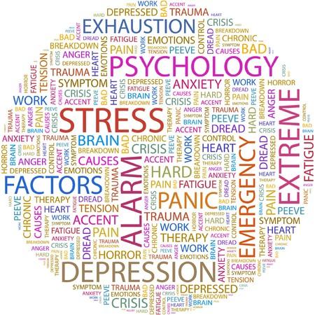 sentimientos y emociones: ESTR�S. Palabra collage sobre fondo blanco.