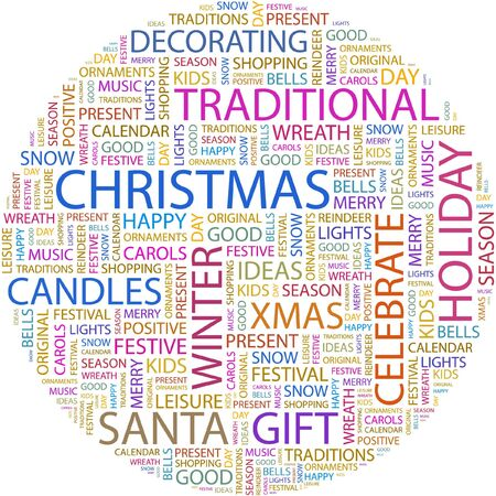 CHRISTMAS. Word collage on white background. Stock Vector - 7066731