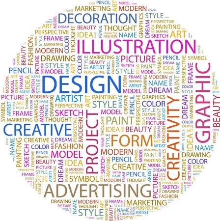 artist's model: DESIGN. Word collage on white background.