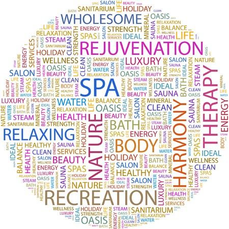 spa collage: SPA. Word collage on white background.  Illustration