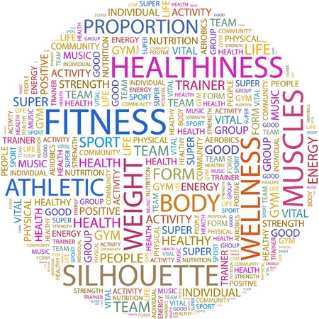 salubrity: FITNESS. Word collage on white background.