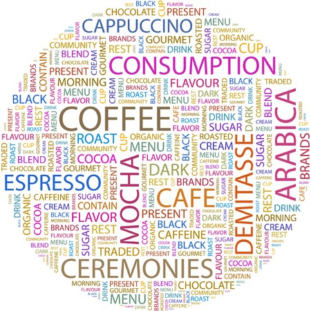 COFFEE. Word collage on white background.  Vector