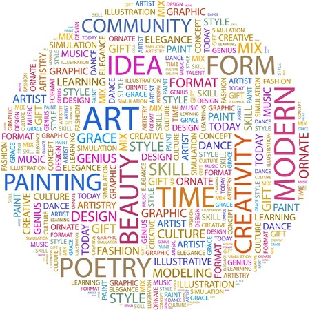 artistry: ART. Word collage on white background.