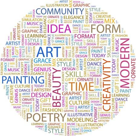 시뮬레이션: ART. Word collage on white background.